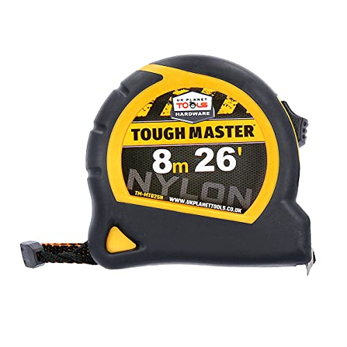 TOUGH MASTER 8M Sturdy Metric Tape Measure with Class II Accuracy Magnetised Rust-Proof Hook Metal Nylon Blade-Coating Case for Home DIY & Industrial Use
