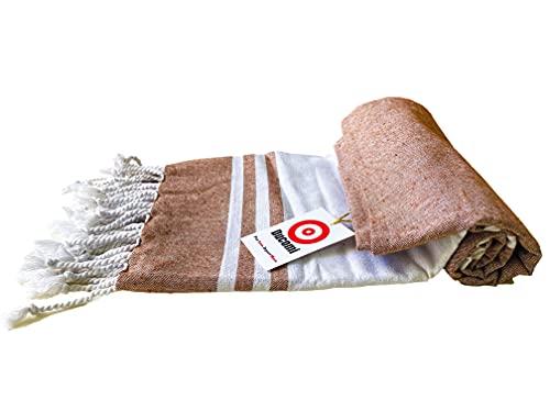 Ducomi Maui Telo Mare da Spiaggia in Cotone Massima Assorbenza e Morbidezza - Asciugamano Ideale per Vacanze, Spiaggie e Piscina - 170 x 90 cm (Brown)