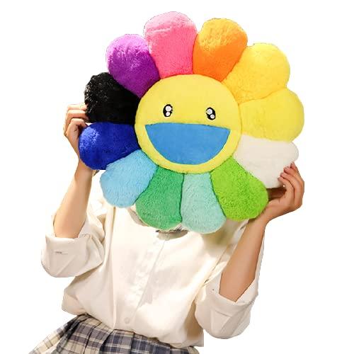 Juguetes de Peluche 40cm Linda Almohada De Flores De Arco Iris Kawaii Plushie Smile Face Girasol De Peluche De Juguete De Felpa Cojín De Silla