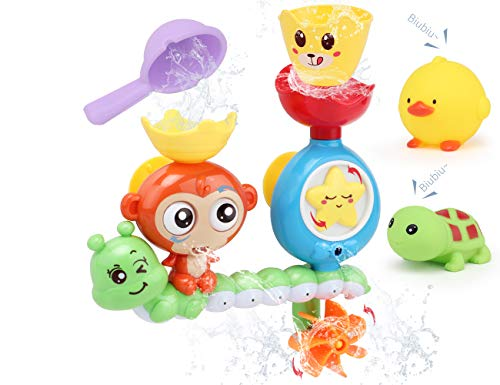 Big Save! Sotodik Bath Toys Baby Bath Wall Toy with Waterfall Station Toys with 2PCS Float Squirt So...