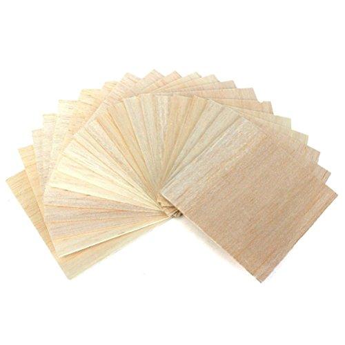 STOBOK 20 unids Placa de Panel de Tablero de Madera Delgada para DIY Artes artesanía decoración Edificio Modelo 100x100x1mm