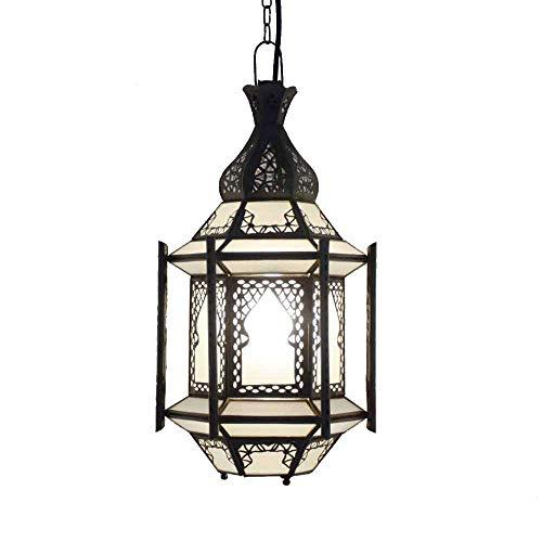 Marrakesch - Lámpara de techo (cristal, 45 cm de altura, estilo vintage, marroquí, árabe, 100% artesanal), color blanco