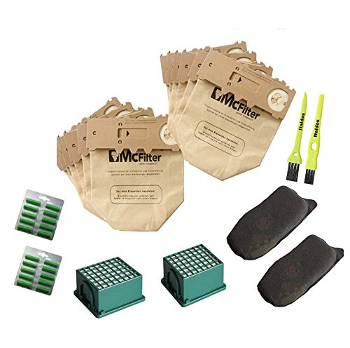 Italdos Kit de Bolsa Aspiradora Compatible para Vorwerk Kobold VK130 VK131-12 Bolsas + 2 Filtros de Motor + 2 Filtros HEPA + 12 parafumes + 2 Cepillos