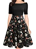 oxiuly Women's Vintage Off Shoulder Pockets Casual Floral A-Line Party Cocktail Swing Dress OX232 (XL, BK-OWhF)