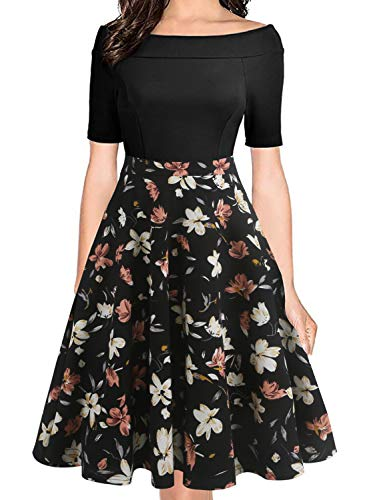 oxiuly Women's Vintage Chic Off Shoulder Pockets Casual Floral A-Line Party Cocktail Wedding Swing Dress OX232 (S, BK-OWhF)