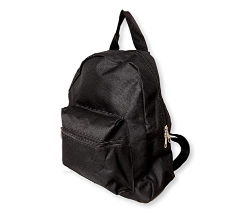 Small Mini Backpack Purse 11-inch, Zipper Front Pockets Teen (Solid Black)