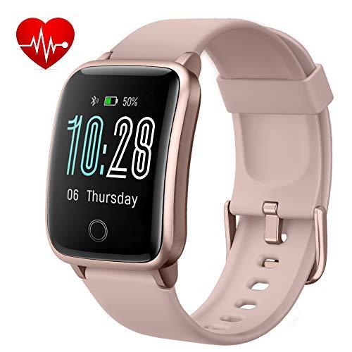 Lintelek Smartwatch Fitness Armband IP68 Wasserdicht Wettererinnerung Herzfrequenzerkennung und Schlafmonitor Schrittzähler Sport-Armbanduhr für Damen Herren kompatibel IOS und Android