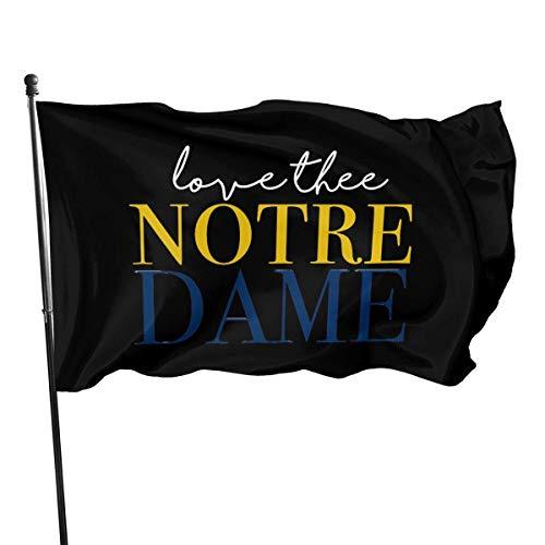 JDQP Love Thee Drapeaux Monocouche Polyester Notre Dame, Drapeau 3 'X 5' Ft, Bannière 3 X 5/90 X 150cm pour Extérieur