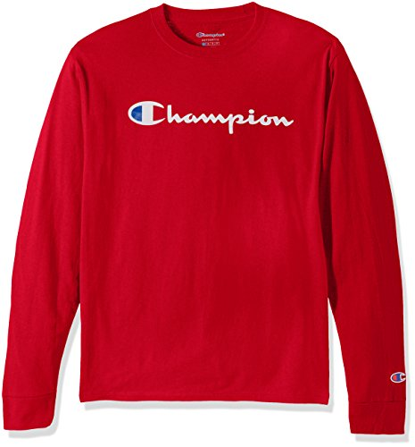 Champion Men s Cotton Long Sleeve Tee, Team Red Scarlet Patriotic Script, Medium