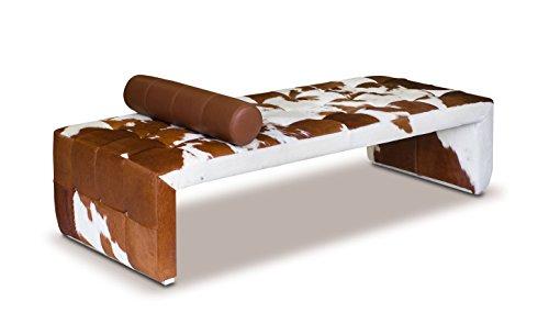 NEUERRAUM Bauhaus Kuhfell Récamière Daybed Chaiselongue Kuhfell Tagesbett Cube. Abbildung echtes Kuhfell Braun-Weiß.