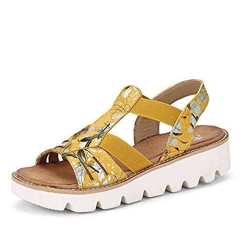 Rieker Damen Sommer-Sandalette Gelb Synthetik 40