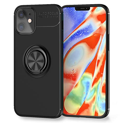 Kaliroo Ringhülle kompatibel mit iPhone 12   iPhone 12 PRO Hülle, Stoßfeste Silikon Schutzhülle mit 360-Grad Finger-Halter für magnetische KFZ-Halterung, Slim Cover Handyhülle Hülle, Farbe:Schwarz