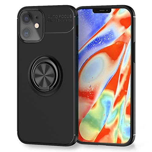 Kaliroo Ring Cover Compatible con iPhone 12 | iPhone 12 Pro Funda, Cubierta Silicona con Anillo Giratorio Rotacion 360-Grados, Kickstand Case, Soporte Magnetico Movil Coche - Negro, Color:Negro