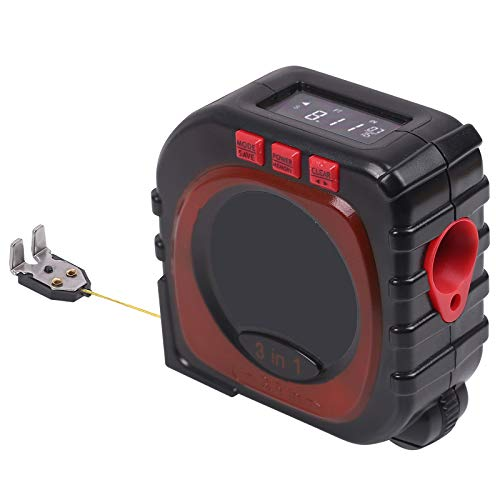 Laser Tape Measure, 3-in-1 Wheel Measuring Laser Measure Tape Measure Laser Measurement Tool with LCD Digital Display for Measuring Area/Volume/Pythagorean Multi-Measurement Modes