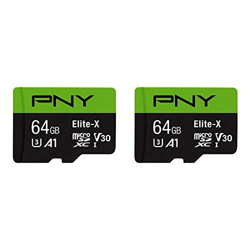 PNY 64 GB Elite-X Class 10 U3 V30 MicroSDXC Cartão de Memória Flash Pacote com 2
