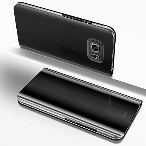 Ysimee Coque Samsung Galaxy S6, Étui Folio à Rabat Clear View Case Couleur Unie Translucide Miroir Housse de Protection Fonction Support Ultra Mince Flip Portefeuille Coque pour Samsung Galaxy S6,Noir