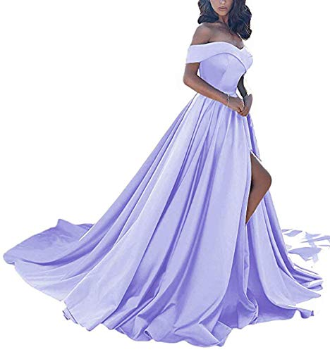 Scarisee Women's A-line Off Shoulder Prom Evening Dresses with High Split Formal Long Wedding Party Gowns Lavender 20W