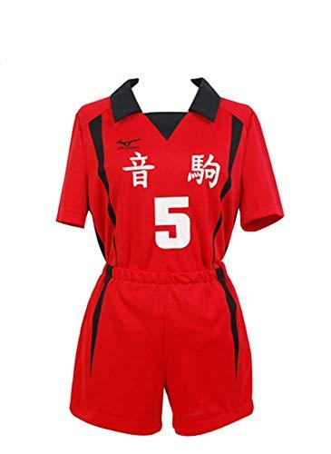 prettycos Herren Damen Kenma Kozume Kostüm Kuroo Tetsurou Cosplay Nekoma High School Uniform Roter Volleyball Jersey (M, 5)