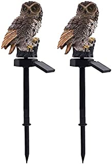 Aaedrag 2PCS Waterproof Lawn LED, Solar Animal Lights, Resin White Owls, Auto Sensor Lights for Home Garden Lighting Owl S...