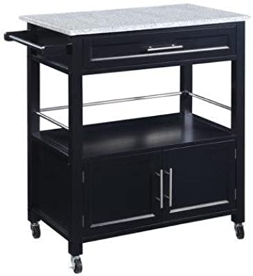 Cameron Kitchen Cart with Granite Top, Black Finish It has A Single Drawer, Shelf
