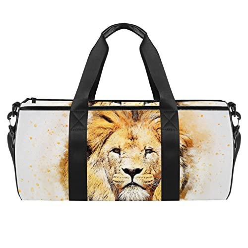 Grande borsa da viaggio borsa sportiva borsa a tracolla weekender borsa per donna e uomo verde, Testa di leone fredda, 45x23x23cm/17.7x9x9in,