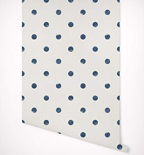 Kraska Peel Stick Wallpaper Polka Dot Blue Nautical Removable Wallpaper Self Adhesive Premium Quality Multi Purpose Wall Decor Home Nursery Kitchen Bathroom Office Fridge 24 X 24 Wantitall