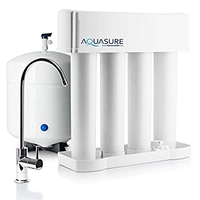 Aquasure Premier Advanced 75 GPD Reverse Osmosis Water Filtration System with Quick Change Water Filter (Chrome Finished Designer Faucet)