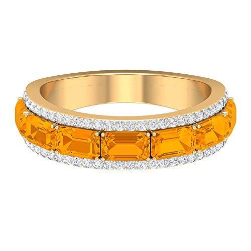 Anillo de boda de 3 quilates con zafiro naranja creado en laboratorio con diamante para mujer (calidad AAA), oro de 14 quilates