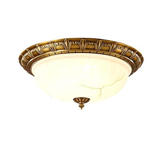 Lámpara de Techo LED Estilo retro del arte europeo de cobre circular lámpara del techo, pantalla de cristal, dormitorio Estudio Oficina lámpara del techo, luces de techo de facilitar la entrada de la