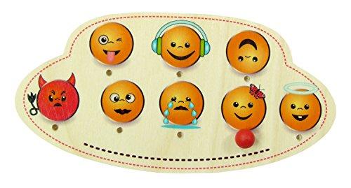 Hess Jouet en bois 15446 Porte Plaque en bois emojis Multicolore Env. 20 x 10 cm