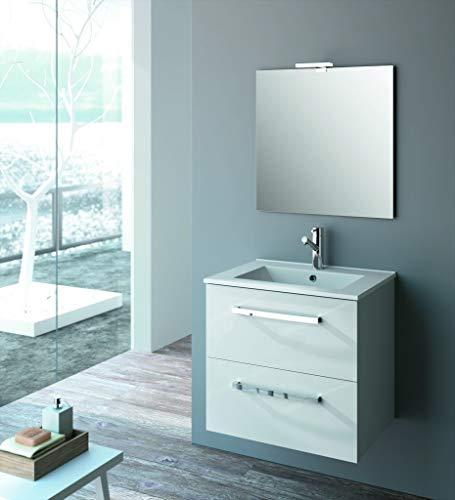 Cygnus Bath Madera, baño suspendido Nevada Color Blanco (Solo Mueble), Espejo y Aplique no incluidos. Medidas necesarias para Lavabo 60 cm Ancho y 45 cm Fondo