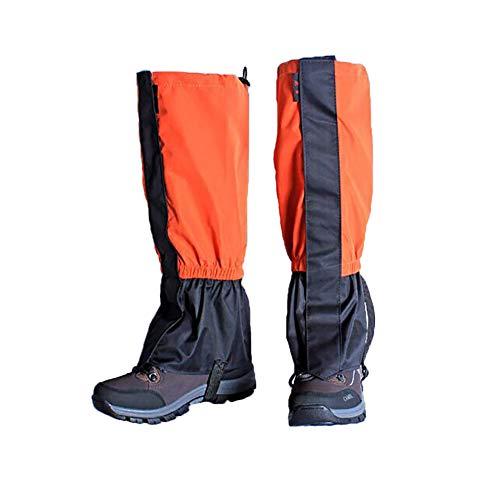 Zhongtou Polainas para Hombre, Impermeables, cálidas, para Mujer, Ligeras, para Senderismo en la Nieve, Polainas para piernas para Caminar, Raquetas de Nieve, Caza, Escalada y Correr (Naranja)