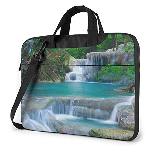 Forest Waterfall Water Laptop Bag Briefcase Shoulder Mesenger Bag for Women Men 15.6 Inch