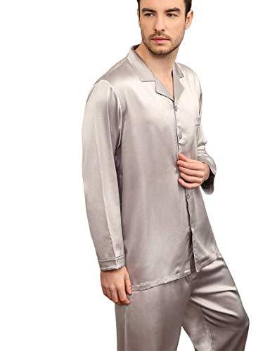 Pijamas Ropa de dormir de seda Ropa de dormir Ropa de noche Traje de hombre 30 m Cinta verdadera Bolsillo en el pecho Cintura elástica Sencillo y conveniente Tapeta de botones sedosa Fácil de