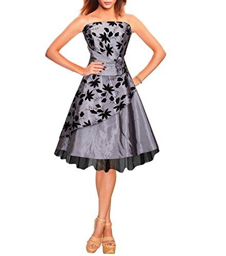 Zarlena Damen Cocktailkleid Chiffonkleid Satin Abendkleid Brautjungfernkleid Abi Ballkleid Grau XS 3238