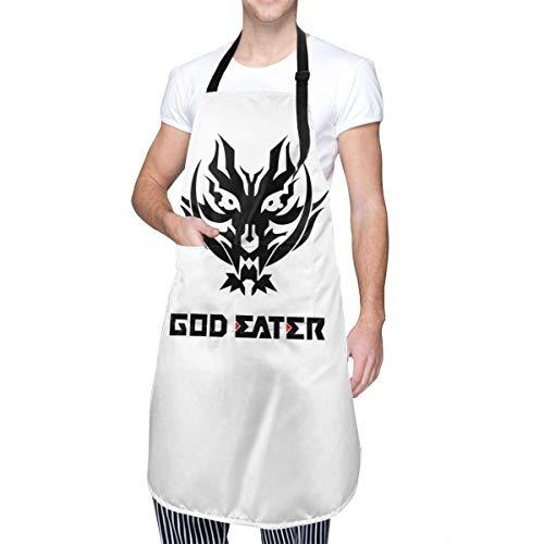 N\A God Eater 2 Rage Burst Delantal de Cocina con Logotipo y Texto con Bolsillo para Hombres y Mujeres