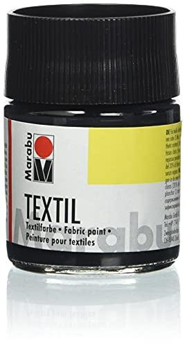Marabu 17160005073 - Textil Stoffmalfarbe schwarz 50 ml, Stoffdruckfarbe auf Wasserbasis, für helle Stoffe, waschwiderstandsfähig bis 60°C, weicher Handgriff, einfache Fixierung durch Bügeln o. Backofen