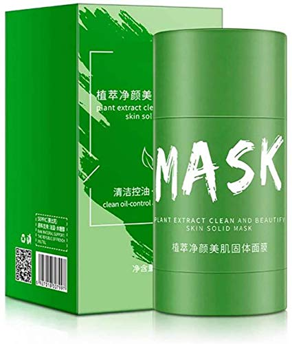 Green Tea Purifying Clay Stick Mask, Moisturizes and Controls The Oil, Oil Control Anti-Acne Eggplant Solid Fine, Blackhead Remover, Improves Texture of The Skin