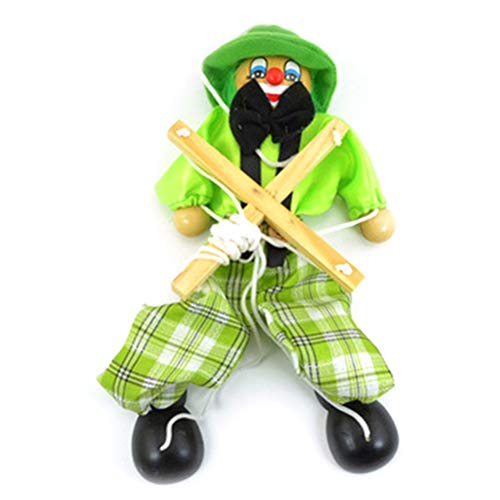 XKMY Marionetas de mano para mascotas, divertidas, de colores, de estilo vintage, de madera, de marionetas, de madera, para actividades conjuntas, para niños, regalos (color: verde)