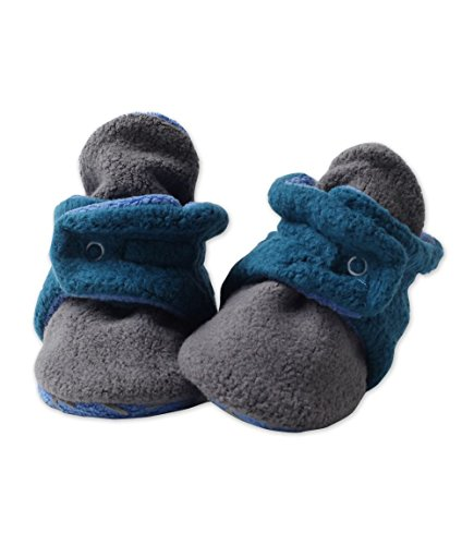 Zutano Cozie Fleece Baby Booties, Unisex Baby Shoes for Infants and Toddlers, Gray/Pagoda, 3M