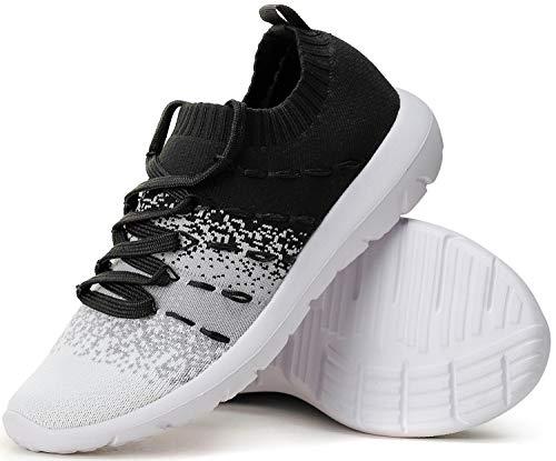 PromArder Women#039s Walking Shoes Slip On Athletic Running Sneakers Knit Mesh Comfortable Work Shoe Black/White