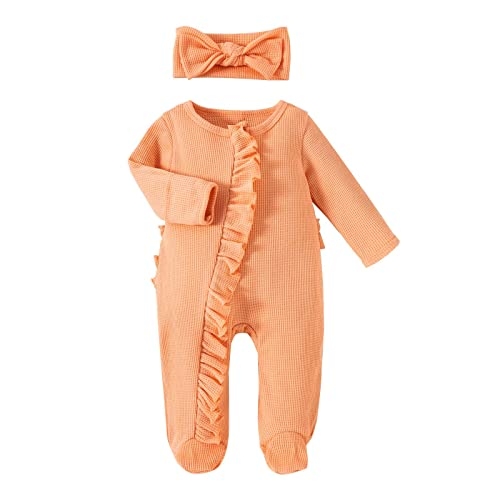 Body para bebé (de 0 a 24 meses) de una sola pieza con mangas largas para bebés y niños pequeños, de punto monocromático, con pie envolvente