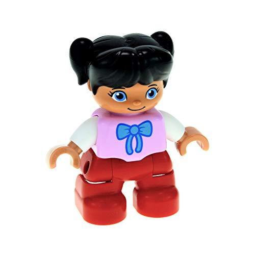 1 x Lego Duplo Figur Kind Mädchen Schwester Hose rot Top rosa weiss mit Schleife Haare Zöpfe schwarz 47205pb032