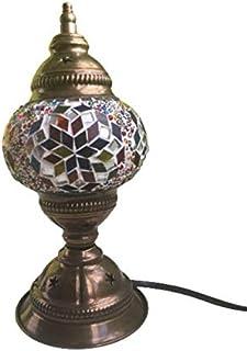 Lámpara de Escritorio Turca | Lampara para Mesilla de Noche Vintage para Dormitorio | Tamaño pequeño, Mosaico cristal, Bas...