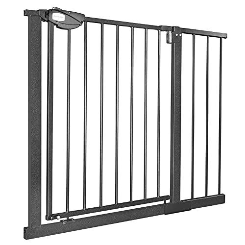 NAIZY Barrera de Seguridad de Niños para Puertas y pasillos Perros Escaleras - Autoclose N Stop Sin Taladrar - 95-105cm (Negro)