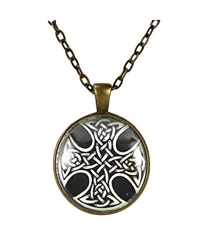 Heng Yuan tian Cheng Collar de cruz tejida celta, cruz celta tradicional,...