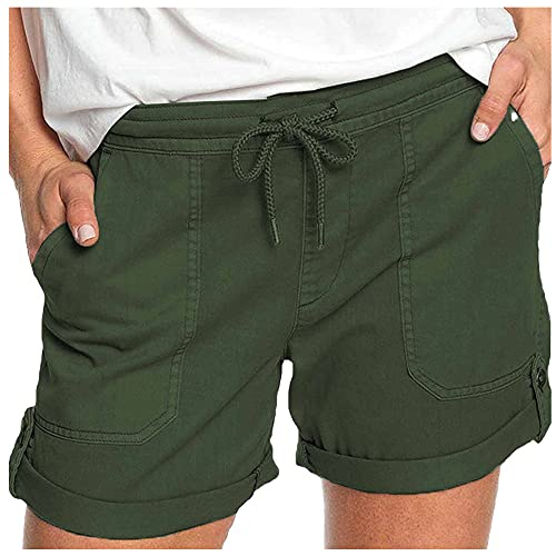 Solid Straight Casual Pants Women's lace up Pocket Loose high Waist Women's Shorts Army Green