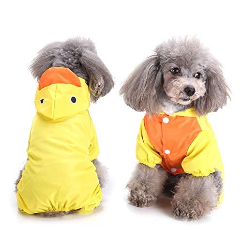 ZUNEA Regenmantel für Kleine Hunde Wasserdicht Netzfutter Regenkleidung mit Kapuze Lustiges Kaninchen Frosch Ente Hai Kostüm Haustier-Regenausrüstung, Anzug mit D-Ring für Geschirr Leine Gelb M