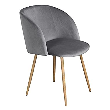 EGGREE Modern Velvet Accent Living Room Chair,Upholstered Armchair Club Chair with Solid Steel Legs for Living Room Bedroom,Grey