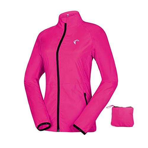 Women's Packable Windbreaker Jacket, Lightweight and Water Resistant, Active Cycling Running Skin Coat, Rose Red M